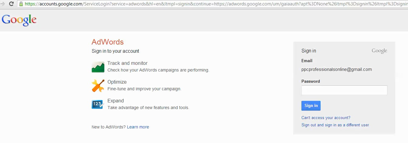 adwords account setup step 1