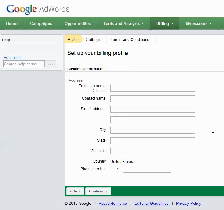 adwords account setup step 7