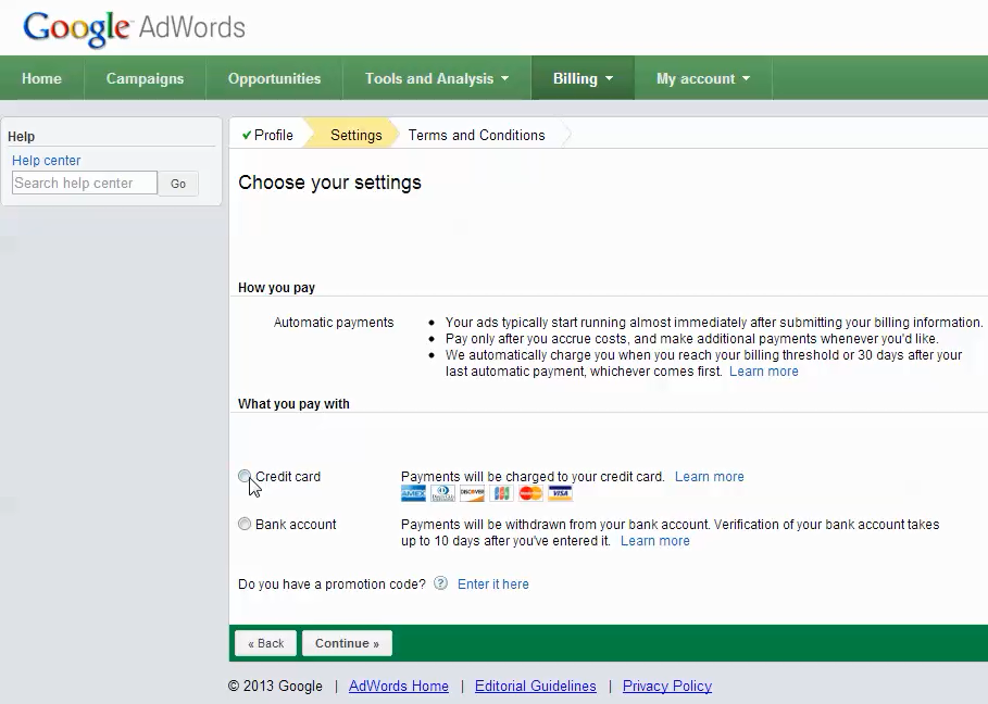 adwords account setup step 8