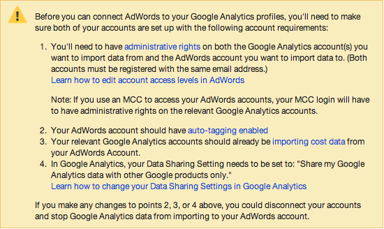 cant link analytics to adwords