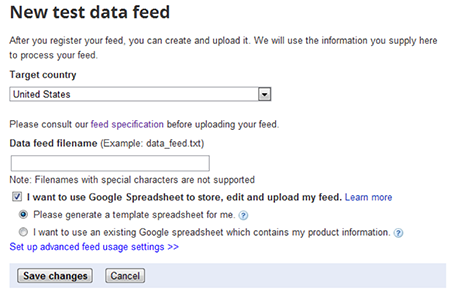 Google Merchant Settings Create Test Data Feed