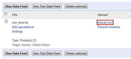 Google Merchant Settings Upload Test Data Feed
